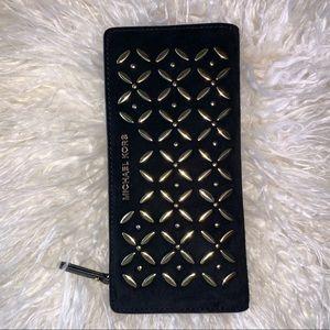 MICHAEL KORS- Large embellished suede slim wallet